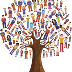 Diversity tree pixel people illustration